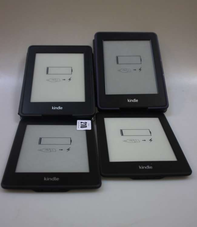 Two Amazon Kindle EY21 and two Amazon      Lot 210   No cat, 14