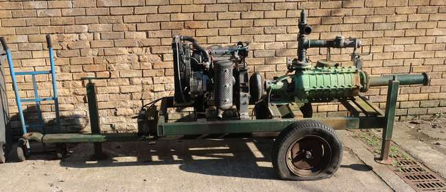 Trailer mounted water pump unit: Lombarini diesel engine powering Rovatti pump unit SK265 22/8E. Manufactured by Javelin Water Engineering