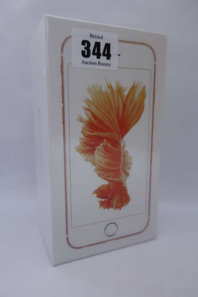 A boxed as new iPhone 6S 16GB model A1688 in Rose Gold (IMEI; 355422072339721).