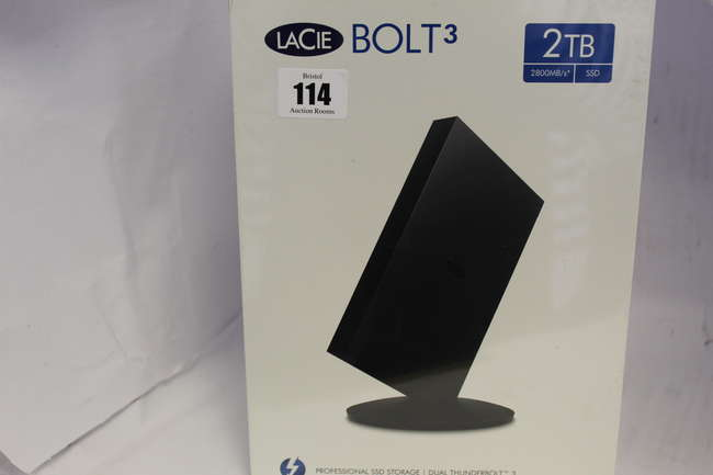 A boxed as new LaCie 2 TB Bolt3 Professional Thunderbolt 3 and USB-C External SSD Hard Drive (Model: STFF2000400) (Box sealed).