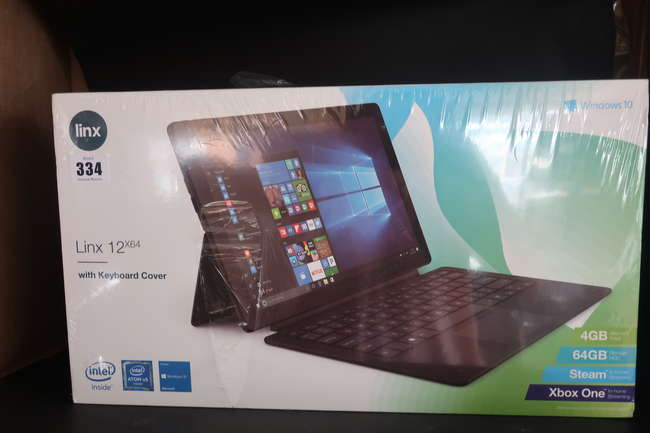 A boxed as new Linx 12X64 12.5 64GBTablet running Windows 10 with Detachable Keyboard (Box sealed).