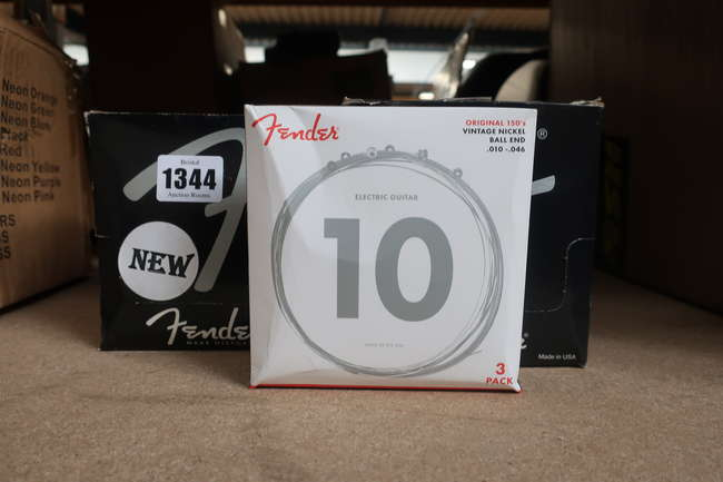 Two boxes of as new Fender electric guitar number 10 strings original 150's vintage nickel ball end (6 packs of three per box).