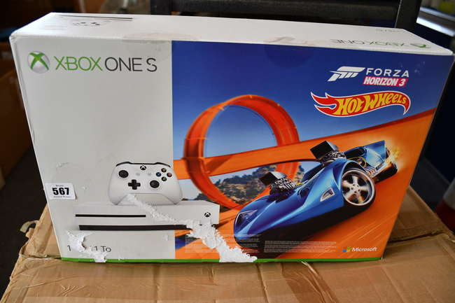 A boxed as new Xbox One S 1TB Console Forza Horizon 3 Hot Wheels Bundle (Box sealed