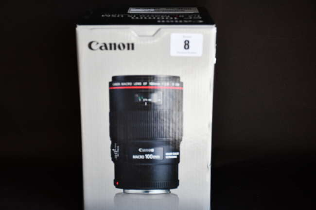 A boxed as new Canon EF 100mm f/2.8L Macro IS USM Lens (Box opened).