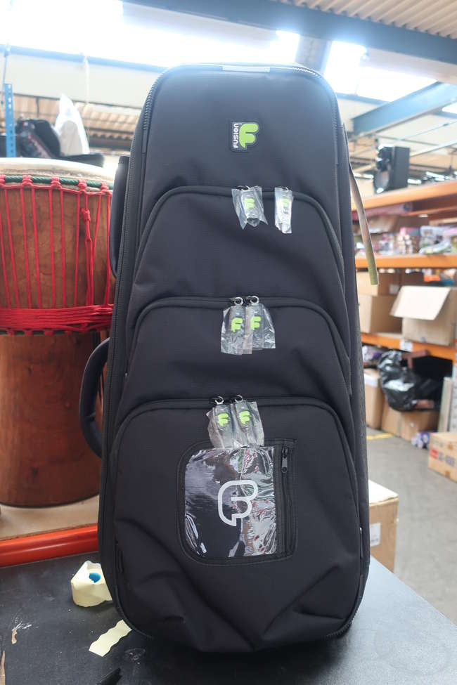 An as new Fusion bag pipe bag in black.
