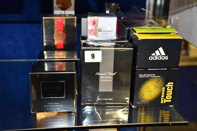 Twelve assorted parfums to include Britney Spears, Halloween man, Adidas, Laghmani gold, revitalist women.