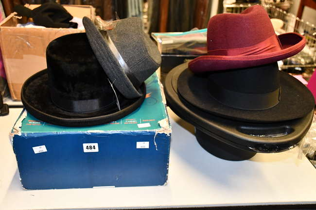 Four assorted hats to include a Borsalino Trionfo (UK 7 3/8) in hard protective hat case and a Morson Krausz Hatters hat (Size 58).