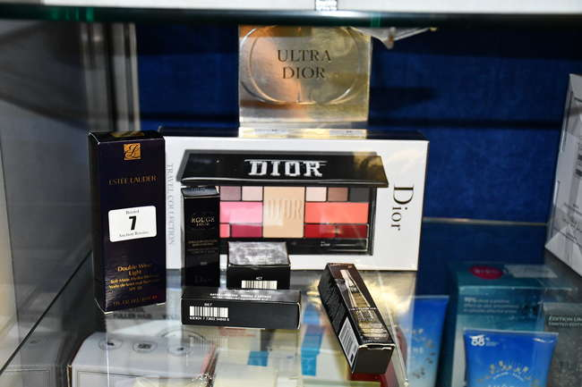 Two Dior Ultra Dior couture palettes together with five other cosmetic items to include Mac, Lancome and Estee Lauder.