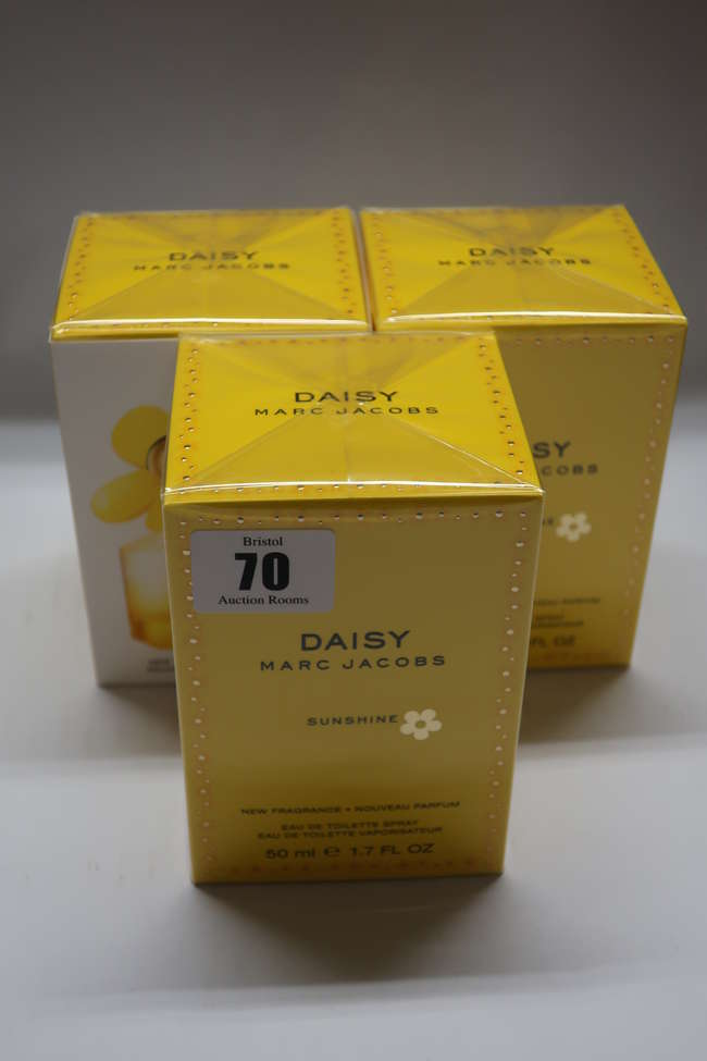 Three boxed as new Marc Jacobs Daisy Sunshine eau de toilette (50 ml).