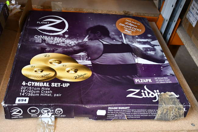 One boxed as new Zildjian Planet Z 4-Cymbal Set-Up(14 pair, 16, 20).
