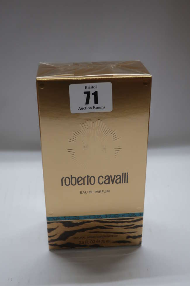 Five boxed as new Roberto Cavalli eau de parfum (75ml).