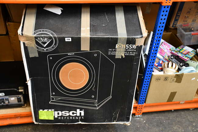 A boxed as new Klipsch Subwoofer (R-115SW ).