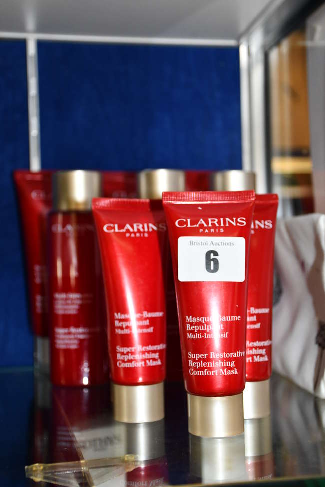 As new Clarins products; three Super Restorative body cream (200ml), three Super Restorative treatment essence (200ml), five Super Restorative replenishing comfort mask (75ml) and a toiletry bag.