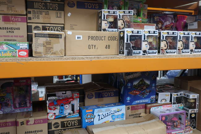 A quantity of as new toys and games to include Star Wars, Funko Pos, Leap Frog, Despicable Me, Twozies and Play-Doh.