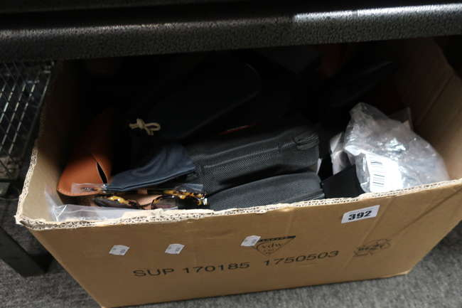 A box of assorted glasses/sunglasses to include new examples.