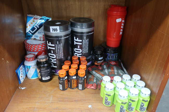 A quantity of as new athletic performance and mass building supplements to include 1up Nutrition Pro Test Max 60 capsules, ABE pre workout, PRO-TF whey protein etc.