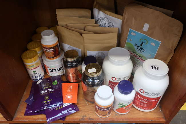 A quantity of as new vegan and healthy living supplements to include Organic Tree organic pea protein, Kinobody Octane, Laso detox tea etc