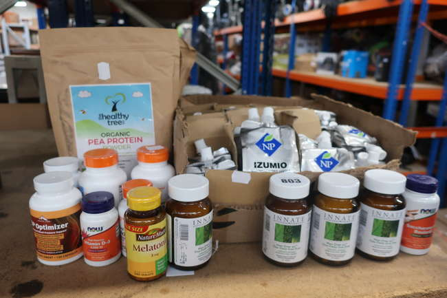 A quantity of as new Vegan and healthy living supplements to include Organic Tree organic pea protein, Now vitamin D-3, Izumio hydrogenized water etc