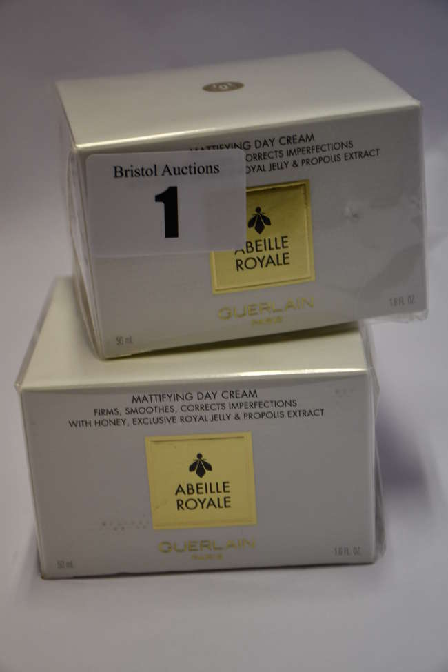 Two boxed as new Guerlain Abeille Royale mattifying day cream (50ml).