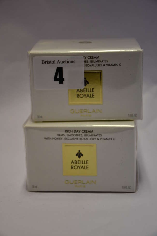Two boxed as new Guerlain Abeille Royale rich day cream (50ml).