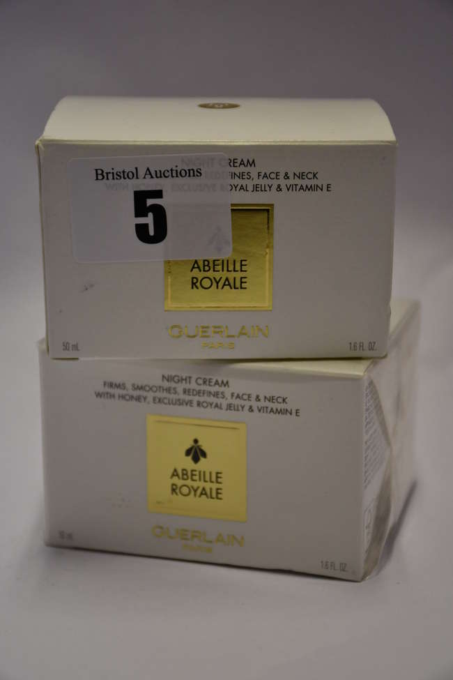 Two boxed as new Guerlain Abeille Royale night cream (50ml).