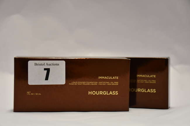 Ten boxed as new Hourglass Immaculate Liquid Powder Foundation (30ml), in various shades.