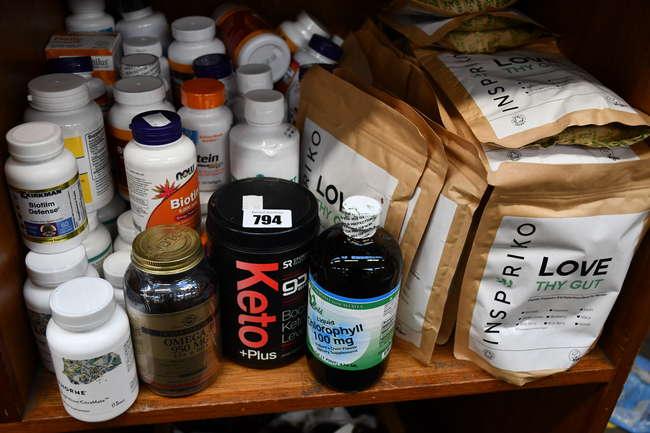 A quantity of as new health and fitness supplements to include Sports Research Keto plus, Inspiriko organic prebiotic drinks and Solgar Omega 3 capsules