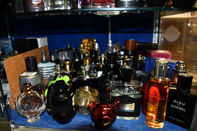 A quantity of part used eau de parfum/toilette to include Creed, Chanel, Versace, Dior, John Varvatos and Ralph Lauren (Approximately 45 items).