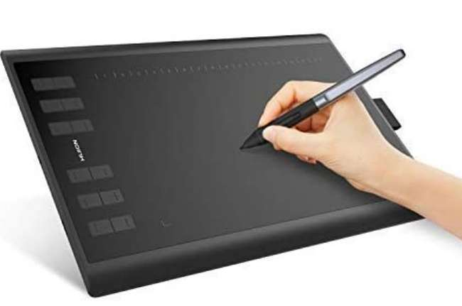 A boxed as new Huion Inspiroy H1060P Tilt Function Battery Free Stylus Pen Graphics Tablet Digital Drawing Painting Tablet with 8192 Pen Pressure and 12 Customized Press Keys. Supports Windows, Mac and Android.