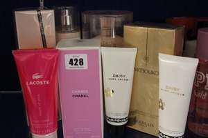 Chanel Chance body moisture (200ml), Guerlain Mitsouko body lotion (200ml), Viktor & Rolf body lotion (200ml), Jean Paul Gaultier Classique body lotion (200ml), Marc Jacobs Daisy body lotion (75ml) and shower gel (75ml), Lacoste Touch of pink body lo