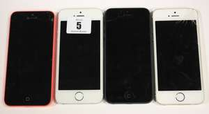 Two iPhone 5S A1457 and A1530 imei: 351988063181219 and 352018067710794 (Both activation locked one with cracked screen) an iPhone 5 A1429 imei: 013596196938060 (Activation locked and cracked screen) and an iPhone 5C A1507 imei: 358803058221438 (Acti