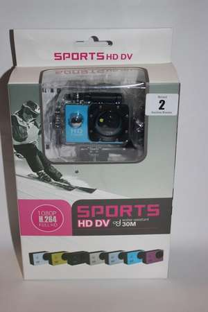 Five Sports blue HD DV 30m water resistant multi purpose action cameras (1.5/20 LCD screen) (Boxed as new).