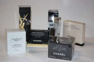 Chanel anti wrinkle serum (30ml), chanel soft touch eye shadow, Chanel anti wrinkle creme (50g), Chanel Les Beiges eye shadow palette, Dior Dissolvant Abricot gentle polish remover (50ml), Dior mascara and YSL mascara volume effect mascara twin set.