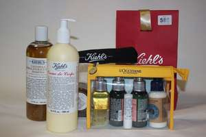 A quantity of Kiehl's and L'Occitane products to include creme de corps (500ml), herbal-extract toner (500ml), shower oil (75ml) (Approximately 12 items).