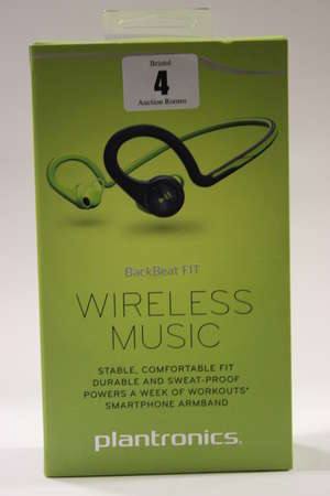 Two green Plantronics BackBeat FIT wireless stereo headphones with armband for a smartphone (Boxed as new).