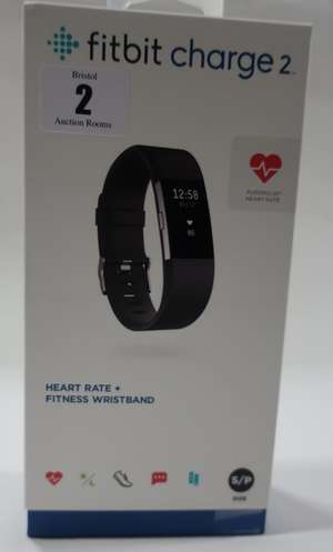 A boxed as new Fitbit Charge 2 heart rate + fitness wristband (Size S/P).