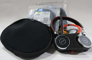 Three pairs of as new Jabra Evolve 40 MS stereo headsets  (HSC017) in cases.