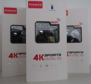 Three boxed as new Pingko sports 4K cameras.
