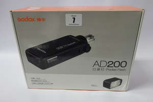 A boxed as new Godox AD200 pocket flash.