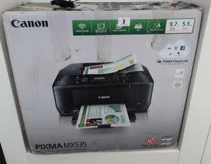 A Canon Pixma MX535 wireless print-copy scan-fax + cloud link.