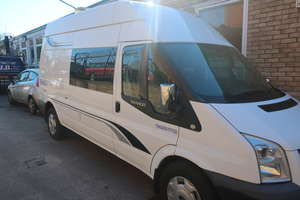 A 2011 Ford Transit 155 T350 RWD high roof motor caravan (Camper van), registration number YE61 ZCA, one former keeper, mileage reading 129,972 (Not Warranted), MOT until July 2019, V5 document available (Asset of Bankruptcy).