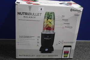 A boxed as new NutriBullet Balance Bluetooth Smart Blender in Black.