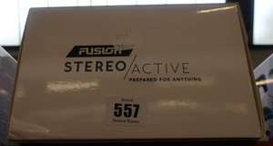 One boxed as new Fusion Stereo Active portable watersport stereo in blue.
