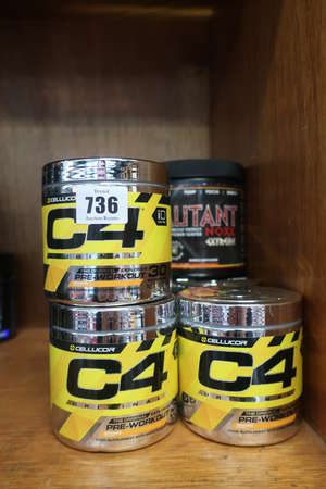 Nine Cellucor C4 The Original Pre-Workout (7 x Orangs, 2 x Strawberry Margarita - All 195g) and an Athletic Legions Mutant Noxx Extreme pre-workout energy and power igniter (360g).