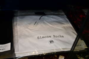 Two lady's as new Simone Rocha cotton jersey t-shirts with tulle layer puff sleeves in white (S
