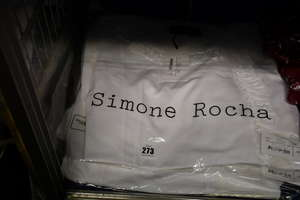 Two lady's as new Simone Rocha ruffled cotton jersey t-shirts in white (M).