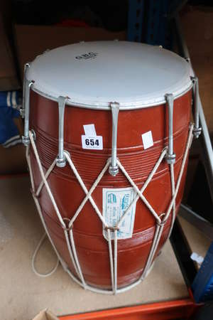 A Dhol Indian music drum (Damage to bottom side).