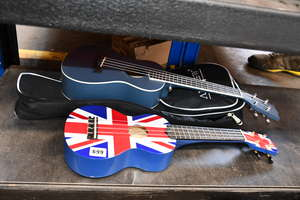 A Mahalo ukulele with union flag  decoration.