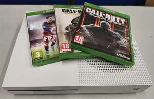 A pre-owned Xbox One S 1681 (Console only) and three pre-owned game disks; Fifa 16