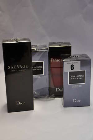 Four man's boxed as new Dior fragrances to include two Dior Homme (100ml, 150ml), one Fahrenheit (100ml) and one Sauvage Very Cool Spray (100ml).